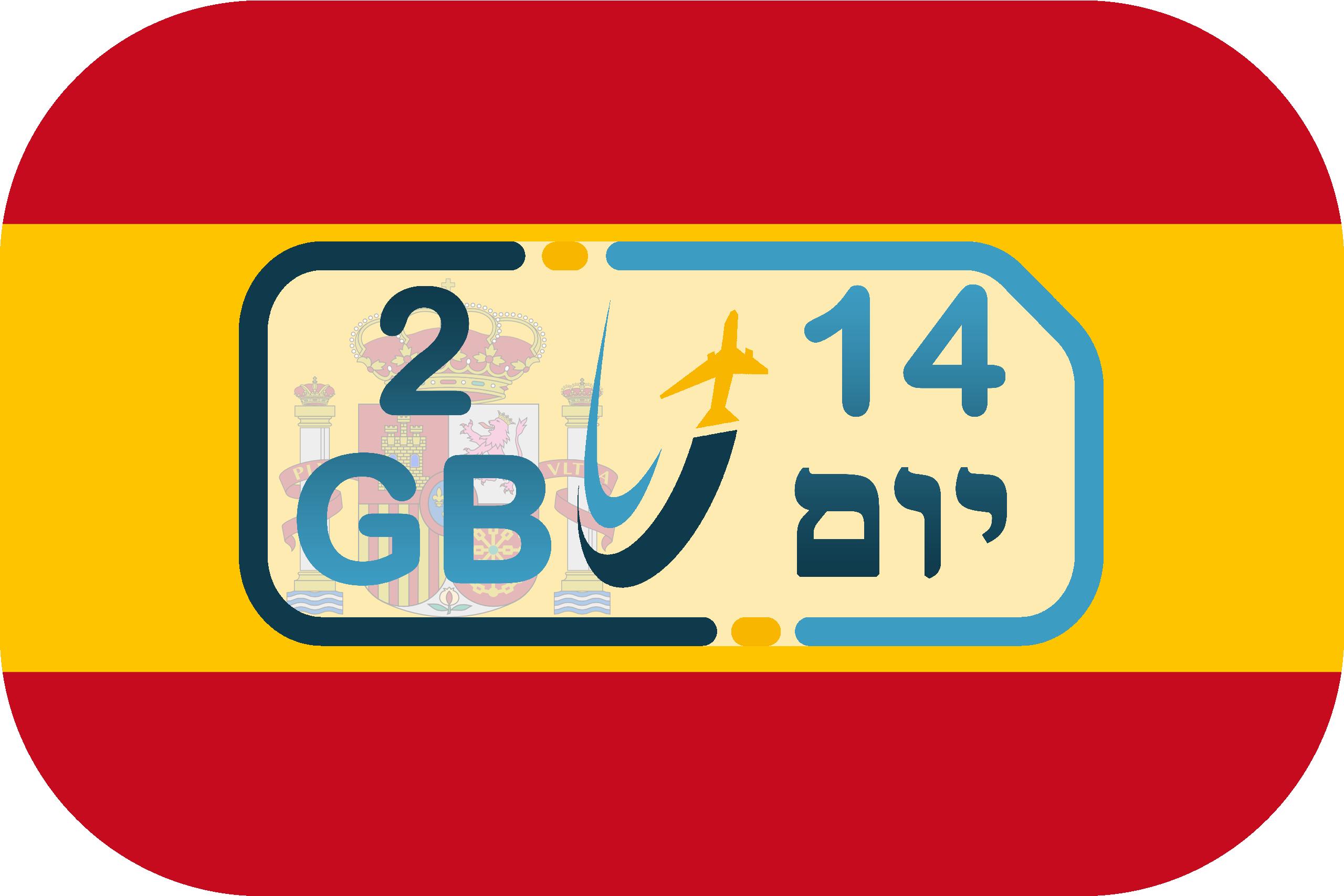 כרטיס סים בספרד – גלישה 2GB (בתוקף ל- 14 יום)